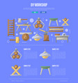 wood diy workshop poster in flat style vector image vector image