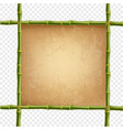 wooden frame made of green bamboo sticks with vector image