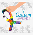 world autism day with ribbon puzzle pieces vector image vector image
