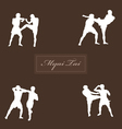 with Thai boxers against a dark background vector image