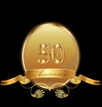 50th golden anniversary birthday seal icon vector image vector image