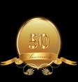 50th golden anniversary birthday seal icon vector image