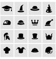 black helmet and hat icon set vector image vector image