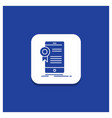 blue round button for certificate certification vector image vector image