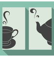 Business card set with silhouettes teapot and cup vector image vector image
