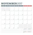 Calendar Planner Template for November 2017 Week vector image vector image