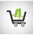 cart buy vegetable pea icon vector image vector image