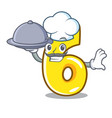 chef with food number six door sign on cartoon vector image
