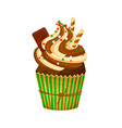 christmas chocolate cupcake with chocolate cream vector image vector image