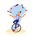 circus juggler with clubs riding unicycle on white vector image vector image
