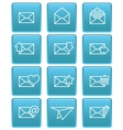 Envelope icons for email on blue squares vector image vector image