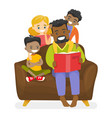 father reading a book to multiethnic children vector image vector image