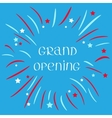 Fireworks ball Star and strip Grand opening text vector image