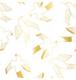 golden birds flying seamless pattern vector image vector image