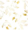 golden birds flying seamless pattern vector image
