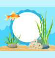goldfish swimming among seaweed stones and sand vector image