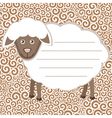 Greeting card with cute sheep vector image