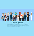 group of cheerful arabic business people happy vector image vector image