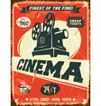 Grunge retro cinema poster vector image vector image