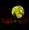 halloween party bats with gothic haunted castle vector image vector image