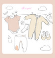 hand drawn baby clothes flat lay vector image