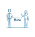man and woman wearing protective face mask social vector image vector image