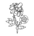 mechanical flower engraving vector image vector image