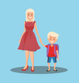 mother leads son to school vector image