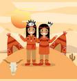 native american people cartoon vector image vector image