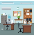 office workspace desk chair table plant furniture vector image vector image