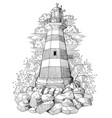 old light house with waves and clouds vector image