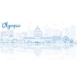 Outline Olympia skyline with blue buildings vector image