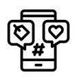 phone heart label icon outline vector image vector image