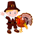 pilgrim with turkey vector image vector image