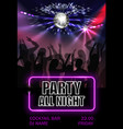 realistic night party advertising poster vector image vector image