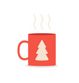 red coffee or tea mug with spruce isolated on vector image vector image