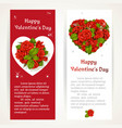red roses on two vertical banners on a white and vector image