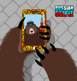 Russian bear selfie on red square Wild bear and vector image vector image
