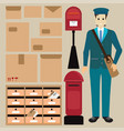 set of postman with letter box vector image vector image