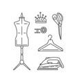 sewing icons outline vector image vector image