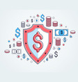 shield and dollar set of icons financial security vector image