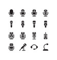 solid microphone icon set mic sign vector image