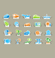 travel icons on stickers vector image vector image