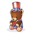 uncle sam teddy bear cartoon vector image vector image