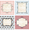vintage frames on the old fabric vector image vector image