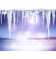 winter realistic background with icicles vector image