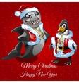 Wishes merry Christmas unusual Santa vector image vector image