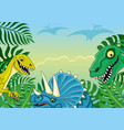 with funny dinosaurs vector image