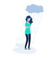 woman rain cloud depressed girl feeling lonely vector image vector image