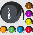 Zipper Icon sign Symbols on eight colored buttons vector image vector image
